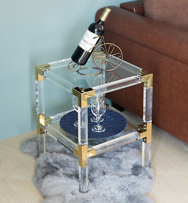 $575 • Buy Square Acrylic Gold Metal Modern End Side Table With Tempered Glass Shelf