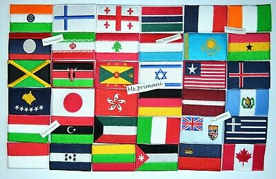 COUNTRY EMBROIDERED FLAG NATIONAL Iron/Sew On PATCH UK USA 7 X 4.5 Cm APPROX • 1.75£