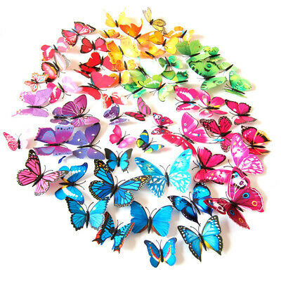 AU6.10 • Buy 24 Pcs 3D Butterfly Wall Stickers Magnet Art Decal Room Decorations Decor DIY