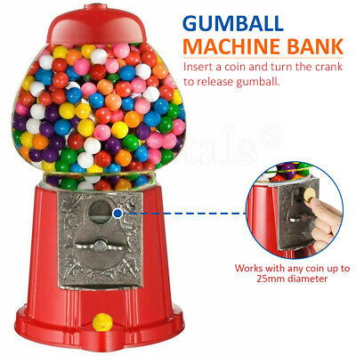 Gumball Machine Bubble Gum Sweet Candy Dispenser Bank Coin Operated Vintage Red • 9.89£