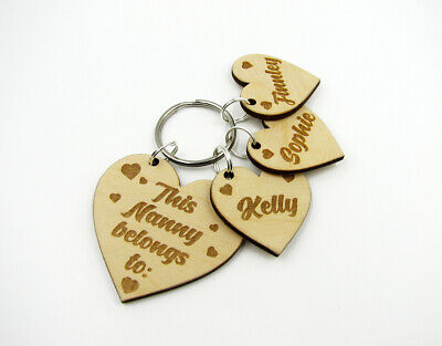 Personalised Wooden Heart Keyring This Nanny Belongs To Engraved Nanny Gift Idea • 6.45£