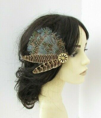 Brown Green Gold Natural Coloured Pheasant Feather Fascinator Hair Clip 7711 • 10.95£