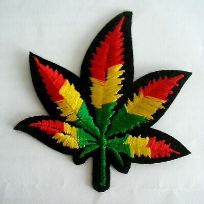 £2.79 • Buy Rasta Red Yellow Green Coloured Cannabis Leaf Iron On Motif Patch Child Adult
