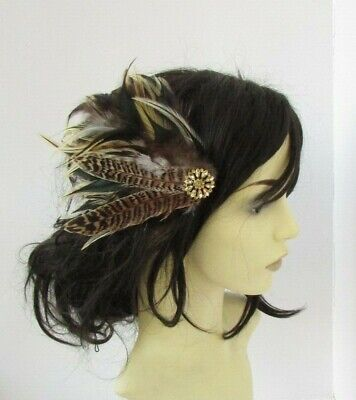 Gold Brown Pheasant Feather Fascinator Hair Clip Races Wedding Headpiece 7728 • 9.95£