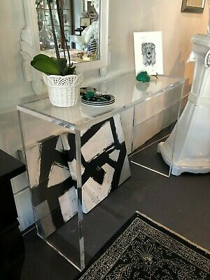 $2200 • Buy 45  High Quality 1  Thick Clear Lucite Console Table Mid Century 1980s