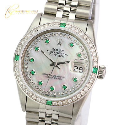 $ CDN7268.51 • Buy Rolex Mens Datejust Steel White MOP  Diamond Emerald  Dial Diamond Bezel 36mm
