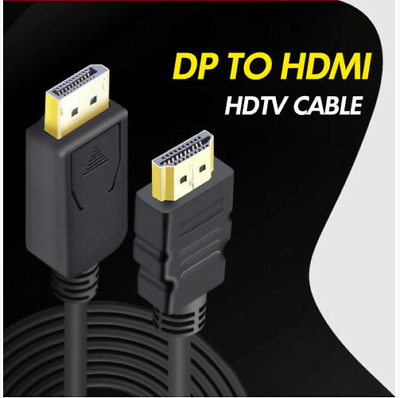 1.8m Display Port DP Male To HDMI Cable Adapter 1080P For Laptop PC TV Converter • 4.25£