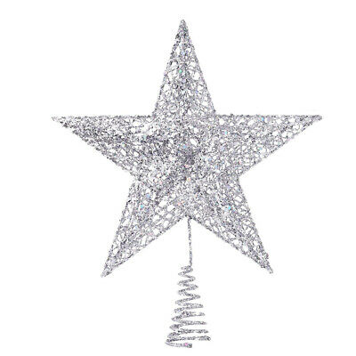 20CM Christmas Tree Topper Ornaments Star Top Party Home Xmas Decoration Silver • 6.29£