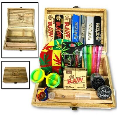 Jumbo Smoking Box Christmas Set - Rolling Papers, Wooden Box, Ash Tray, Grinder • 32.99£