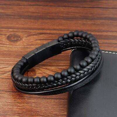 Mens Black Leather, Gemstone Bracelet Stainless Steel Magnetic Clasp 7- 8.5inch • 13.99£