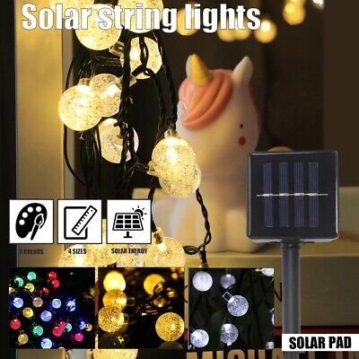 50 Multi LED Solar Power Fairy Lights Crystal Ball Garden Outdoor Xmas Party Ace • 7.39£