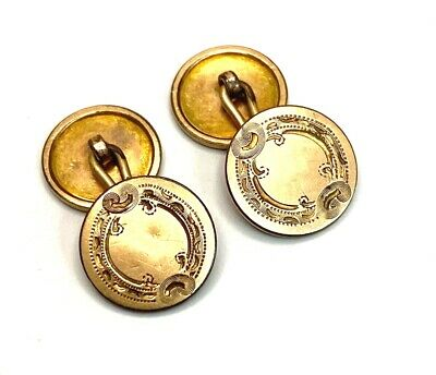 $24.99 • Buy Victorian 15mm Antique Yellow Gold Filled Hand Engraved Cufflinks