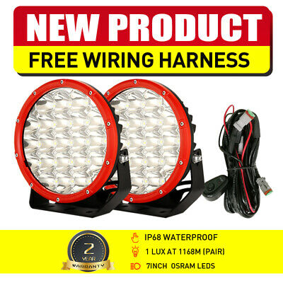 AU86.79 • Buy NEW Pair 7inch OSRAM LED Driving Lights Round RED Spot Beam OffRoad Truck 4x4