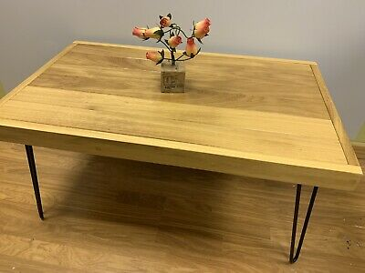 Hand Made Solid Wood Iroko African Teak Coffee Table Hairpin Legs • 195£