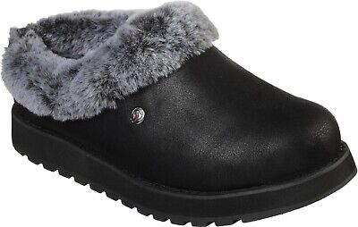 SK31214 Keepsakes R E M Black Fur-lined Shootie Mule Slipper • 38.51£