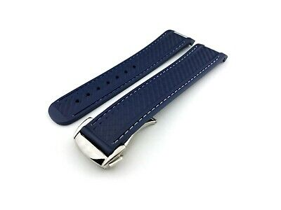Navy-White Rubber Silicone Strap Band Fit OMEGA AQUA TERRA Watch 20mm Clasp Pins • 27.50£