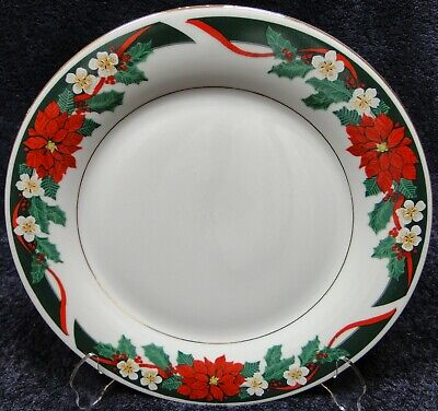 $6.99 • Buy Tienshan Deck The Halls Dinner Plate 10 5/8  Christmas Poinsettia Excellent