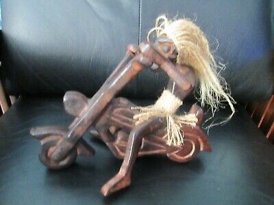 $24.99 • Buy Unique Vintage Wooden Native Riding Motorcycle Carved Wood Tiki Man Figurine 9