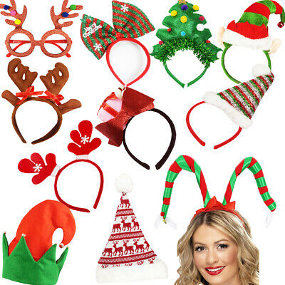 Christmas BAUBLES Star Heart TREE Top Headband Bead Chain Santa Scene Xmas • 6.45£
