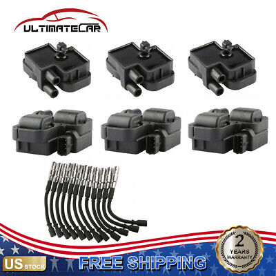 $92.89 • Buy 6x Ignition Coils W/ 12x Plug Wire Sets For Mercedes-Benz C CL CLK ML Class
