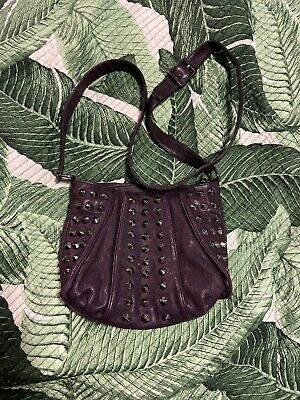 $45 • Buy Treesje Eggplant Purple Studded Leather Crossbody Handbag