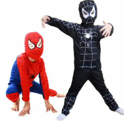 Superhero Boys Kids Fancy Dress Up Spiderman Cosplay Costume Clothes Outfits UK • 9.09£