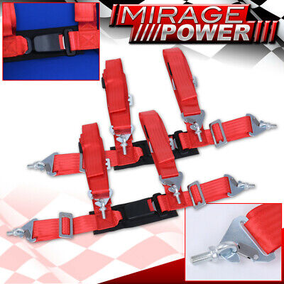 $ CDN65.20 • Buy Red 4 Point Safety Seat Belt Harness Strap Pair 2  W/ Buckle Latch On / Off