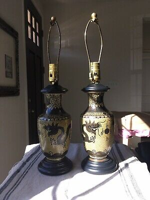 Pair Of Cloisonne Dragon Table Lamps, Beige And Brown With Black Wooden Base • 378.84£