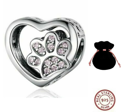 💖 Dog Cat Paw Love Heart Genuine 925 Sterling Silver Charm Bead Bracelet 💖 • 9.98£