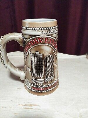 $ CDN13.09 • Buy EXC 1981 BUDWEISER Beer Stein CHICAGO WRIGLEY BUILDING WATER TOWER MARINA CITY