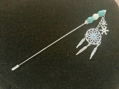 Extra Long Silver And Blue Dream Catcher Hat Pin + Protector 17cm (6 3/4 ) • 7.49£