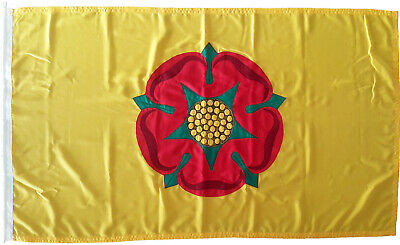 Lancashire County Flag Lancaster Red Rose Mod Sewn Woven Polyester Embroidered • 46£