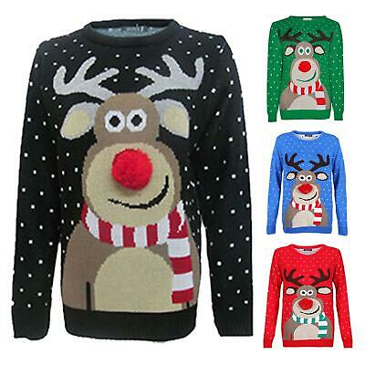 Girls Boys Rudolph Pom Pom Novelty Kids Xmas Jumper Tops Retro Vintage Sweater • 9.99£