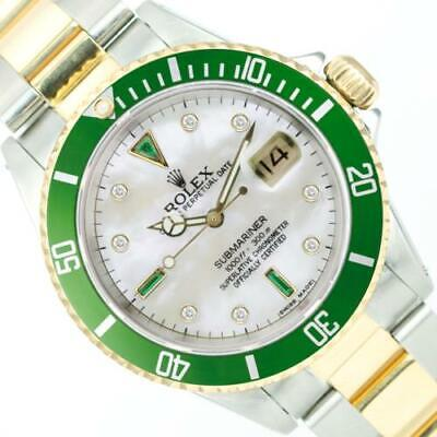 $ CDN12879.52 • Buy Rolex Men's Watch 40mm Submariner 16613 Two-Tone MOP With Diamonds And Emeralds