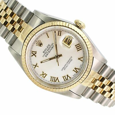 $ CDN6379.83 • Buy Rolex Watch Mens 36mm Datejust 18k Gold & Steel MOP Dial Roman Numerals Track