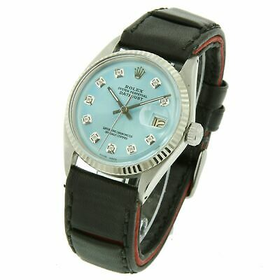 $ CDN4716.65 • Buy Rolex Watch Men 36mm Datejust 1601 Blue Diamond Dial Leather Band Fluted Bezel