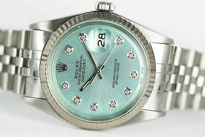$ CDN5918.77 • Buy Rolex Men's Watch Vintage 1601 36mm Datejust Ice Blue Dial Diamond Markers