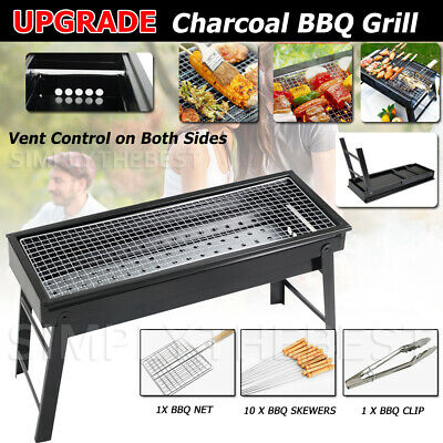 AU25.96 • Buy Foldable BBQ Charcoal Grill Portable Outdoor Hibachi Camping Barbecue Large Set