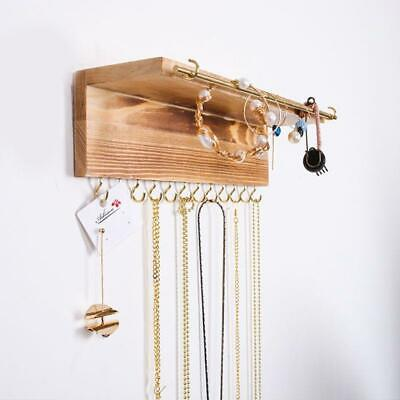 Wall Mounted Wooden Jewelry Display Organizer Hook Holder For Earrings Necklace  • 9.66£