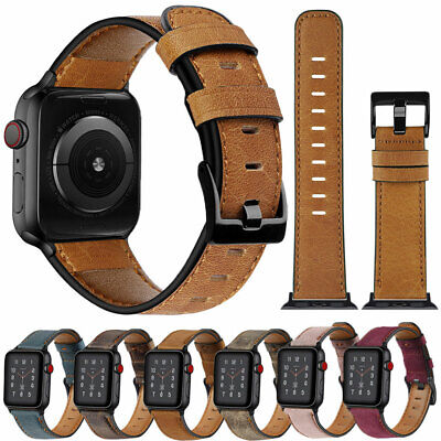$ CDN9.45 • Buy Genuine Leather Watch Bands Strap For Apple Watch 5 4 40/44mm 3 2 1 38/42mm Band