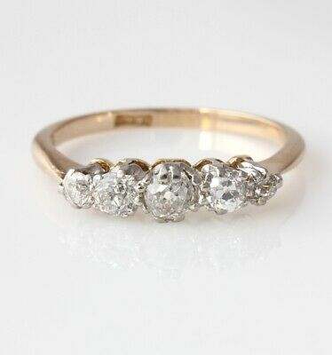 Antique Old Cut Natural Diamond Five 5 Stone Eternity Ring 18 Ct Gold Size P 1/2 • 595£