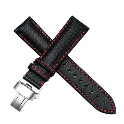 $ CDN52.35 • Buy 22mm Black Carbon Fiber Leather Sport Watch Band Straps Made For Seiko Diver's