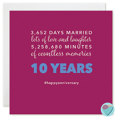 Wedding Anniversary Card 10 Years Ten10th Husband Wife 3,652 DAYS MARRIED • 3£