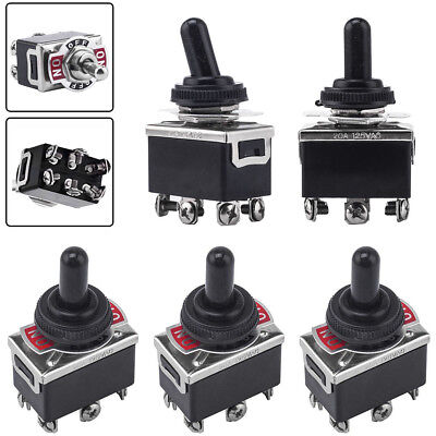 5pcs 3 Position 6 Terminal On/Off/On DPDT Toggle Switch + Waterproof Boot & Caps • 8.40$