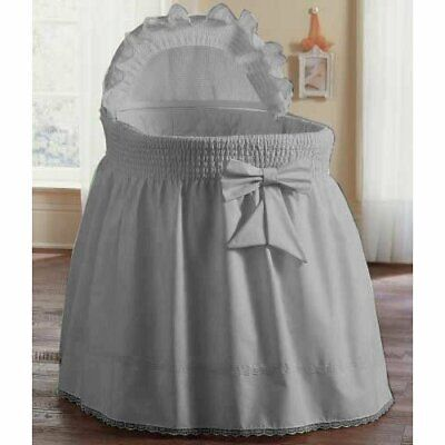 ABaby Smocked Bassinet Skirt, Grey, Small  • 59.06$