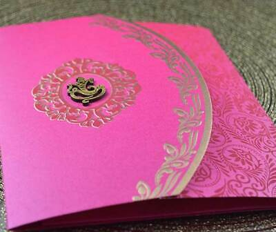 £1 • Buy Indian Hindu Sikh Muslim Wedding Invitations With Inserts, Pink Gold Traditional