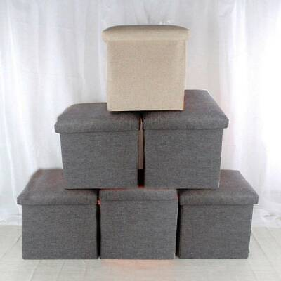 Folding Stool Seat Storage Space Box Chair Cube Footstool Pouf Bench 30x30cm • 7.19£