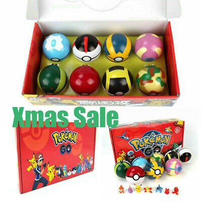 2.8'' 8Pcs Pokeball Ball Set Pokemon Action Figures Christmas Toy Xmas Gift  UK • 13.61£