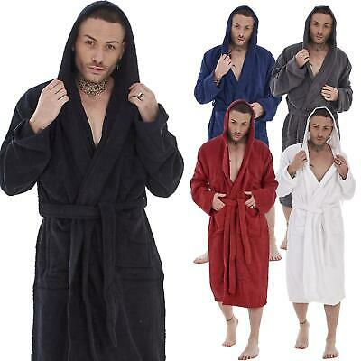 £16.95 • Buy Mens Hooded Towelling 100% Cotton Dressing Gown Bath Robe Sizes M -XL - Gift