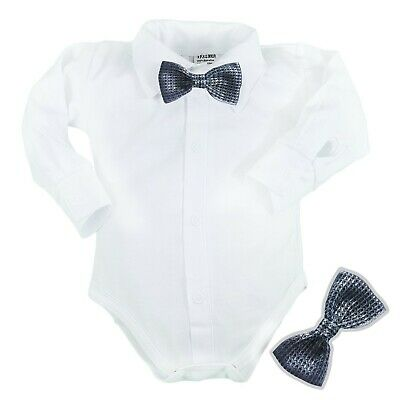 £9.25 • Buy Baby Boys Bodysuit Shirt BOW Tie Outfit Special Occasions Christening Birthday